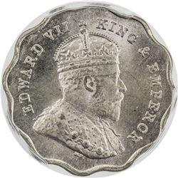 BRITISH INDIA: Edward VII, 1901-1910, 1 anna, 1907-B. PCGS MS66