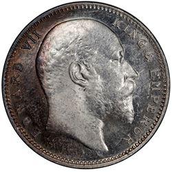 BRITISH INDIA: Edward VII, 1901-1910, AR rupee, 1905(B). PCGS MS62
