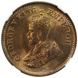 BRITISH INDIA: George V, 1910-1936, AE 1/2 pice, 1922(c). NGC MS65