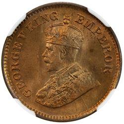 BRITISH INDIA: George V, 1910-1936, AE 1/2 pice, 1931(c). NGC MS65