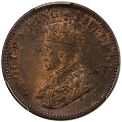 BRITISH INDIA: George V, 1910-1936, AE 1/4 anna, 1911(c). PCGS MS63