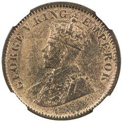 BRITISH INDIA: George V, 1910-1936, AE 1/4 anna, 1911(c). NGC AU