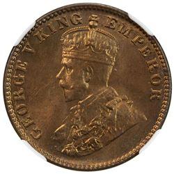 BRITISH INDIA: George V, 1910-1936, AE 1/4 anna, 1927(c). NGC MS65