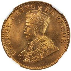 BRITISH INDIA: George V, 1910-1936, AE 1/4 anna, 1930(b). NGC MS65