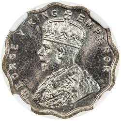 BRITISH INDIA: George V, 1910-1936, 1 anna, 1924(b). NGC MS64