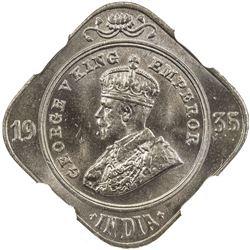 BRITISH INDIA: George V, 1910-1936, 2 annas, 1935(b). NGC MS64