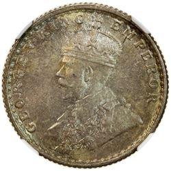 BRITISH INDIA: George V, 1910-1936, AR 1/4 rupee, 1930(c). NGC MS65