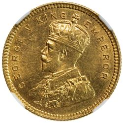 BRITISH INDIA: George V, 1910-1936, AV 15 rupees, 1918(b). NGC MS63