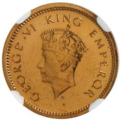 BRITISH INDIA: George VI, 1936-1947, AE 1/12 anna, 1942(b). NGC PF64