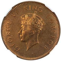 BRITISH INDIA: George VI, 1936-1947, AE pice, 1945(c). NGC MS66