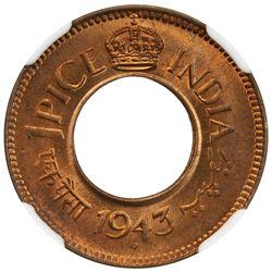 BRITISH INDIA: George VI, 1936-1947, AE pice, 1943(b). NGC MS65