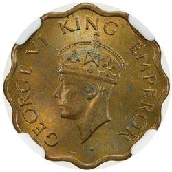 BRITISH INDIA: George VI, 1936-1947, 1 anna, 1945(c). NGC MS65