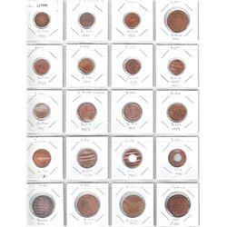 BRITISH INDIA: LOT of 21 copper coins