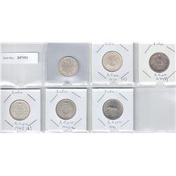 BRITISH INDIA: LOT of 6 silver half rupee coins