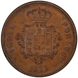 PORTUGUESE INDIA: Luiz I, 1861-1889, AE tanga, 1871. PCGS MS62