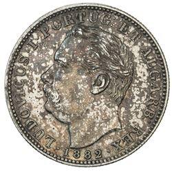 PORTUGUESE INDIA: Luis I, 1861-1889, AR rupia, 1882. EF