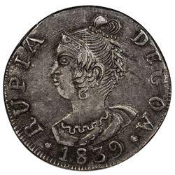 GOA: Maria II, 1834-1853, AR rupia, 1839. NGC AU53