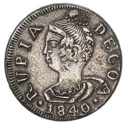 GOA: Maria II, 1834-1853, AR rupia (10.81g), 1840. EF