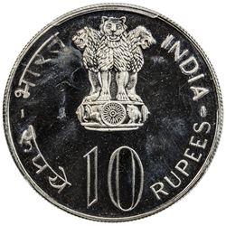 INDIA: Republic, 10 rupees, 1974-B. PCGS MS67