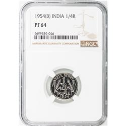 INDIA: 7-coin proof set, 1954(b), KM-PS2, all NGC graded