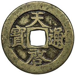 MING: Tian Qi, 1621-1627, AE 10 cash. VF-EF