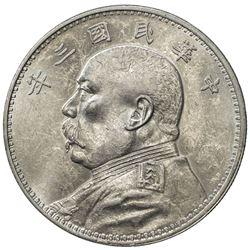 CHINA: Republic, AR dollar, year 3 (1914). AU-UNC