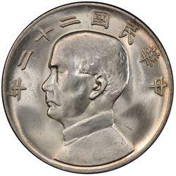 CHINA: Republic, AR dollar, year 22 (1933). PCGS MS64