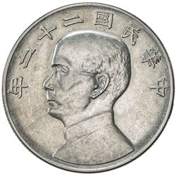 CHINA: Republic, AR dollar, year 22 (1933). AU-UNC