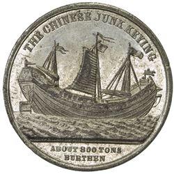 CHINA: white metal medal, 1848, 27mm, Voyage of the Junk Keying, AU