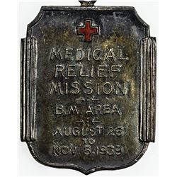 CHINA: AR medal, 1939, 25x30mm, Medical Relief Mission, British Municipal Area, Red Cross, AU