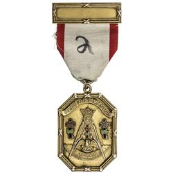 CHINA: Masonic AV medal, 1928, PAST WISE MASTER, 38mm x 51mm, EF