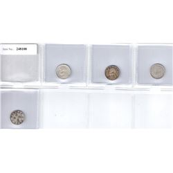 CHINA: LOT of 4 silver 10 cent coins