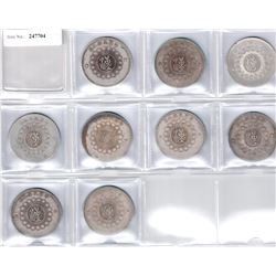 SZECHUAN: LOT of 9 Republican silver dollars, with seal script character han at center