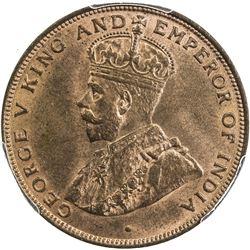 HONG KONG: George V, 1910-1936, AE cent, 1924. PCGS MS64