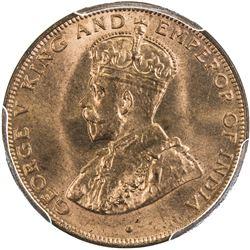 HONG KONG: George V, 1910-1936, AE cent, 1934. PCGS MS65