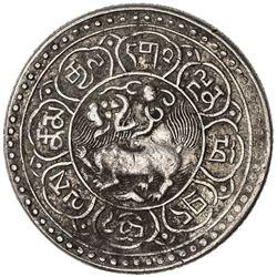 TIBET: AR 5 sho (9.74g), Mekyi mint, BE15-49 (1915), Y-A18, Autonomous Tibetan issue, VF