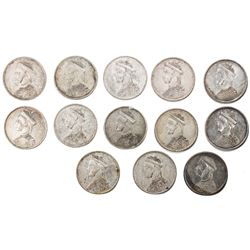 TIBET: LOT of 13 silver trade rupees, Chengdu mint, ND (1911-33), Y-3.2, L& M-359