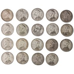 TIBET: LOT of 19 silver trade rupees, Chengdu mint, ND (1911-33), Y-3.2, L& M-359