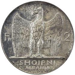 ALBANIA: Amet Zogu, 1925-1939, AR 2 franga ari, 1927-R. NGC MS62