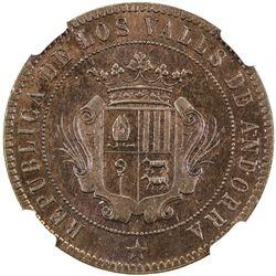 ANDORRA: Republic, AE 10 centimos, 1873