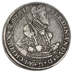 AUSTRIA: Ferdinand II, 1564-1595, AR thaler (28.42g), Hall, ND. VF