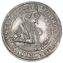 AUSTRIA: Leopold V, Archduke, 1619-1632, AR thaler (28.74g), Hall, 1632. EF