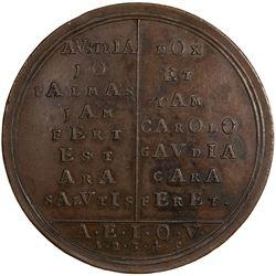 AUSTRIA: Charles VI, 1711-1740, AE medal, 1715. EF