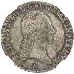 AUSTRIA: Francis I, 1804-1835, AR 1/2 thaler, 1819-A. NGC MS62