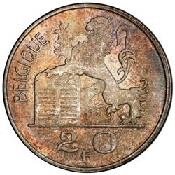 BELGIUM: Baudouin I, 1951-1993, AR 20 francs, 1955. PCGS MS64