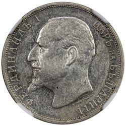 BULGARIA: Ferdinand I, king, 1908-1918, AR lev, 1916. NGC AU50