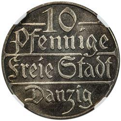 DANZIG: Free City, 10 pfennig, 1923. NGC PF65