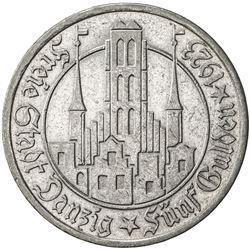 DANZIG: Free City, AR 5 gulden, 1923. EF