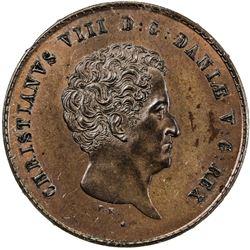 DENMARK: Christian VIII, 1839-1848, AE 2 rigsbankskilling, 1842 FK//VS. NGC PF63
