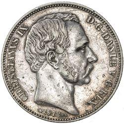 DENMARK: Christian IX, 1863-1906, AR 2 rigsdaler, 1872-CS. VF-EF